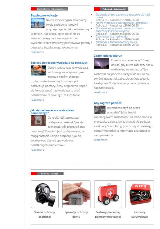Strona internetowa na temat bezpieczeństwa osobistego